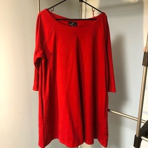 Little Red Shift Dress with Pockets and 3/4 sleeve